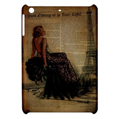 Elegant Evening Gown Lady Vintage Newspaper Print Pin Up Girl Paris Eiffel Tower Apple Ipad Mini Hardshell Case