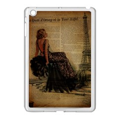 Elegant Evening Gown Lady Vintage Newspaper Print Pin Up Girl Paris Eiffel Tower Apple iPad Mini Case (White)
