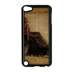 Elegant Evening Gown Lady Vintage Newspaper Print Pin Up Girl Paris Eiffel Tower Apple Ipod Touch 5 Case (black)