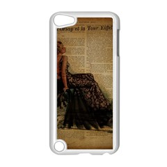 Elegant Evening Gown Lady Vintage Newspaper Print Pin Up Girl Paris Eiffel Tower Apple iPod Touch 5 Case (White)
