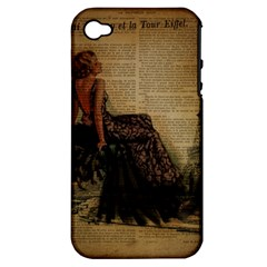 Elegant Evening Gown Lady Vintage Newspaper Print Pin Up Girl Paris Eiffel Tower Apple Iphone 4/4s Hardshell Case (pc+silicone)