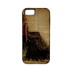 Elegant Evening Gown Lady Vintage Newspaper Print Pin Up Girl Paris Eiffel Tower Apple iPhone 5 Classic Hardshell Case (PC+Silicone)