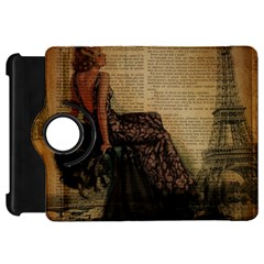 Elegant Evening Gown Lady Vintage Newspaper Print Pin Up Girl Paris Eiffel Tower Kindle Fire HD 7  Flip 360 Case
