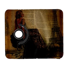 Elegant Evening Gown Lady Vintage Newspaper Print Pin Up Girl Paris Eiffel Tower Samsung Galaxy S  III Flip 360 Case