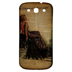 Elegant Evening Gown Lady Vintage Newspaper Print Pin Up Girl Paris Eiffel Tower Samsung Galaxy S3 S III Classic Hardshell Back Case