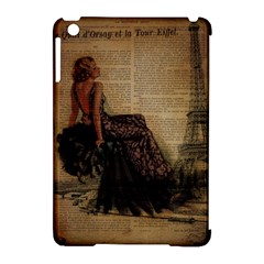 Elegant Evening Gown Lady Vintage Newspaper Print Pin Up Girl Paris Eiffel Tower Apple iPad Mini Hardshell Case (Compatible with Smart Cover)