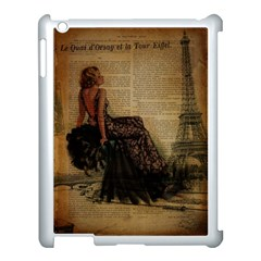 Elegant Evening Gown Lady Vintage Newspaper Print Pin Up Girl Paris Eiffel Tower Apple iPad 3/4 Case (White)