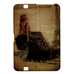 Elegant Evening Gown Lady Vintage Newspaper Print Pin Up Girl Paris Eiffel Tower Kindle Fire HD 8.9  Hardshell Case