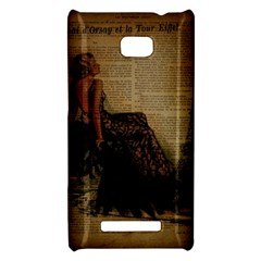 Elegant Evening Gown Lady Vintage Newspaper Print Pin Up Girl Paris Eiffel Tower HTC 8X Hardshell Case