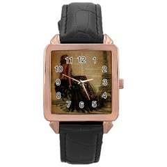 Elegant Evening Gown Lady Vintage Newspaper Print Pin Up Girl Paris Eiffel Tower Rose Gold Leather Watch