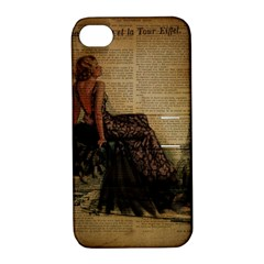 Elegant Evening Gown Lady Vintage Newspaper Print Pin Up Girl Paris Eiffel Tower Apple Iphone 4/4s Hardshell Case With Stand