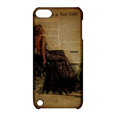Elegant Evening Gown Lady Vintage Newspaper Print Pin Up Girl Paris Eiffel Tower Apple Ipod Touch 5 Hardshell Case With Stand
