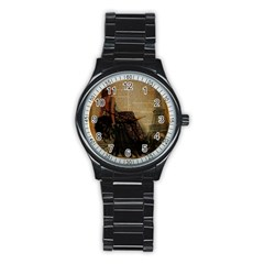 Elegant Evening Gown Lady Vintage Newspaper Print Pin Up Girl Paris Eiffel Tower Sport Metal Watch (Black)