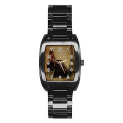 Elegant Evening Gown Lady Vintage Newspaper Print Pin Up Girl Paris Eiffel Tower Men s Stainless Steel Barrel Analog Watch