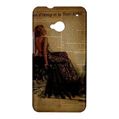 Elegant Evening Gown Lady Vintage Newspaper Print Pin Up Girl Paris Eiffel Tower HTC One M7 Hardshell Case