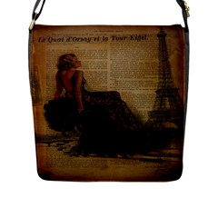 Elegant Evening Gown Lady Vintage Newspaper Print Pin Up Girl Paris Eiffel Tower Flap Closure Messenger Bag (Large)