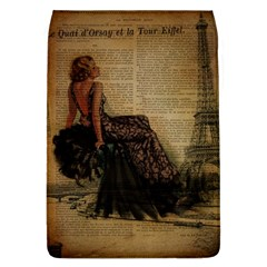 Elegant Evening Gown Lady Vintage Newspaper Print Pin Up Girl Paris Eiffel Tower Removable Flap Cover (large)