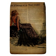 Elegant Evening Gown Lady Vintage Newspaper Print Pin Up Girl Paris Eiffel Tower Removable Flap Cover (small)