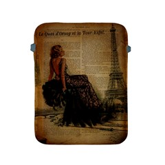 Elegant Evening Gown Lady Vintage Newspaper Print Pin Up Girl Paris Eiffel Tower Apple iPad 2/3/4 Protective Soft Case