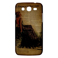 Elegant Evening Gown Lady Vintage Newspaper Print Pin Up Girl Paris Eiffel Tower Samsung Galaxy Mega 5.8 I9152 Hardshell Case