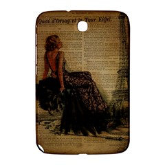 Elegant Evening Gown Lady Vintage Newspaper Print Pin Up Girl Paris Eiffel Tower Samsung Galaxy Note 8.0 N5100 Hardshell Case