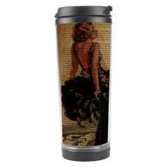 Elegant Evening Gown Lady Vintage Newspaper Print Pin Up Girl Paris Eiffel Tower Travel Tumbler