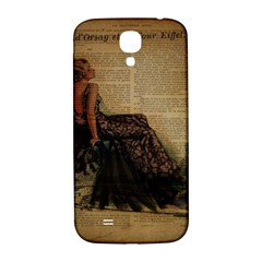 Elegant Evening Gown Lady Vintage Newspaper Print Pin Up Girl Paris Eiffel Tower Samsung Galaxy S4 I9500/i9505  Hardshell Back Case