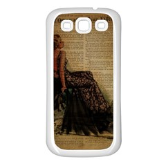 Elegant Evening Gown Lady Vintage Newspaper Print Pin Up Girl Paris Eiffel Tower Samsung Galaxy S3 Back Case (white)