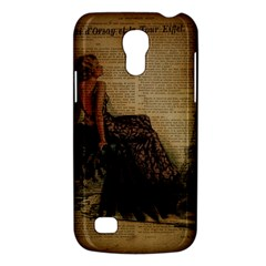 Elegant Evening Gown Lady Vintage Newspaper Print Pin Up Girl Paris Eiffel Tower Samsung Galaxy S4 Mini Hardshell Case