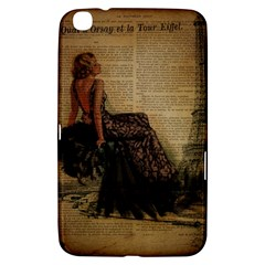 Elegant Evening Gown Lady Vintage Newspaper Print Pin Up Girl Paris Eiffel Tower Samsung Galaxy Tab 3 (8 ) T3100 Hardshell Case