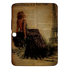 Elegant Evening Gown Lady Vintage Newspaper Print Pin Up Girl Paris Eiffel Tower Samsung Galaxy Tab 3 (10.1 ) P5200 Hardshell Case