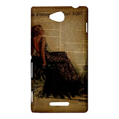 Elegant Evening Gown Lady Vintage Newspaper Print Pin Up Girl Paris Eiffel Tower Sony Xperia C (S39h) Hardshell Case
