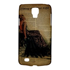 Elegant Evening Gown Lady Vintage Newspaper Print Pin Up Girl Paris Eiffel Tower Samsung Galaxy S4 Active (i9295) Hardshell Case