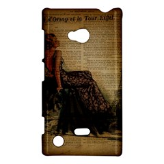 Elegant Evening Gown Lady Vintage Newspaper Print Pin Up Girl Paris Eiffel Tower Nokia Lumia 720 Hardshell Case