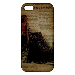 Elegant Evening Gown Lady Vintage Newspaper Print Pin Up Girl Paris Eiffel Tower iPhone 5S Premium Hardshell Case