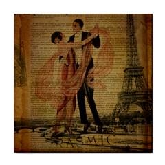 Vintage Paris Eiffel Tower Elegant Dancing Waltz Dance Couple  Ceramic Tile