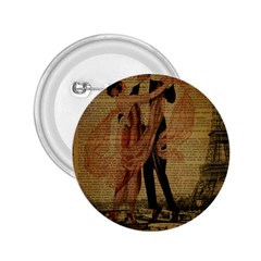 Vintage Paris Eiffel Tower Elegant Dancing Waltz Dance Couple  2.25  Button