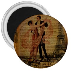 Vintage Paris Eiffel Tower Elegant Dancing Waltz Dance Couple  3  Button Magnet