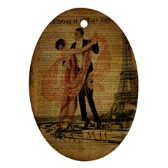 Vintage Paris Eiffel Tower Elegant Dancing Waltz Dance Couple  Oval Ornament