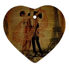 Vintage Paris Eiffel Tower Elegant Dancing Waltz Dance Couple  Heart Ornament