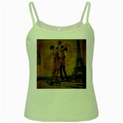 Vintage Paris Eiffel Tower Elegant Dancing Waltz Dance Couple  Green Spaghetti Tank