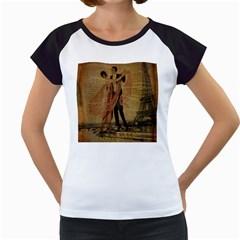 Vintage Paris Eiffel Tower Elegant Dancing Waltz Dance Couple  Women s Cap Sleeve T Shirt (white)