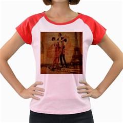 Vintage Paris Eiffel Tower Elegant Dancing Waltz Dance Couple  Women s Cap Sleeve T-Shirt (Colored)