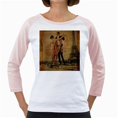 Vintage Paris Eiffel Tower Elegant Dancing Waltz Dance Couple  Womens  Long Sleeve Raglan T-shirt (White)