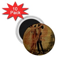 Vintage Paris Eiffel Tower Elegant Dancing Waltz Dance Couple  1 75  Button Magnet (10 Pack)
