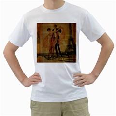 Vintage Paris Eiffel Tower Elegant Dancing Waltz Dance Couple  Mens  T Shirt (white)