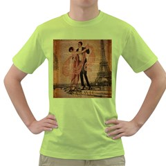 Vintage Paris Eiffel Tower Elegant Dancing Waltz Dance Couple  Mens  T-shirt (Green)