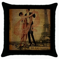 Vintage Paris Eiffel Tower Elegant Dancing Waltz Dance Couple  Black Throw Pillow Case