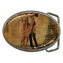 Vintage Paris Eiffel Tower Elegant Dancing Waltz Dance Couple  Belt Buckle (oval)