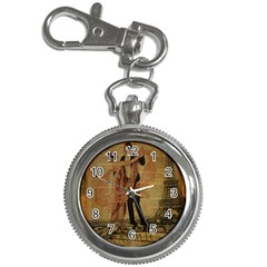 Vintage Paris Eiffel Tower Elegant Dancing Waltz Dance Couple  Key Chain & Watch
